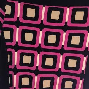 Geometric color block three quarter sleeve dress
